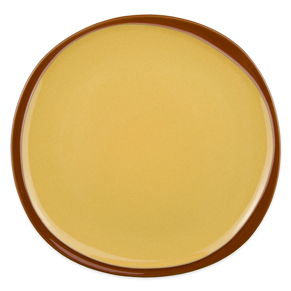 "Syracuse China 922226352 Organic Shaped Plate w/ Narrow Rim, Terracotta, 10.75x 1"", Mustard Seed Yellow"