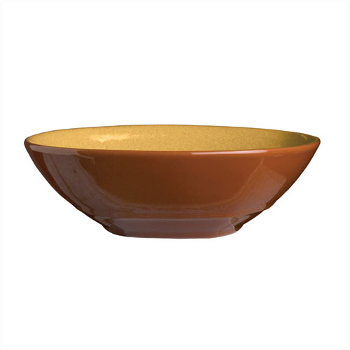 "Syracuse China 922226353 21-oz Round Bowl, Terracotta Clay, 7.12x2"", Mustard Seed Yellow"