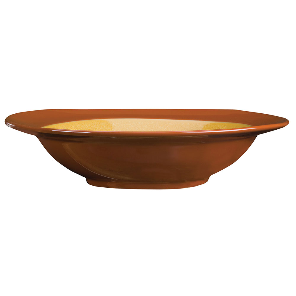 Syracuse China 922226357 30.5-oz Organic Shaped Pasta Bowl, Round, Terracotta, Mustard Seed Yellow