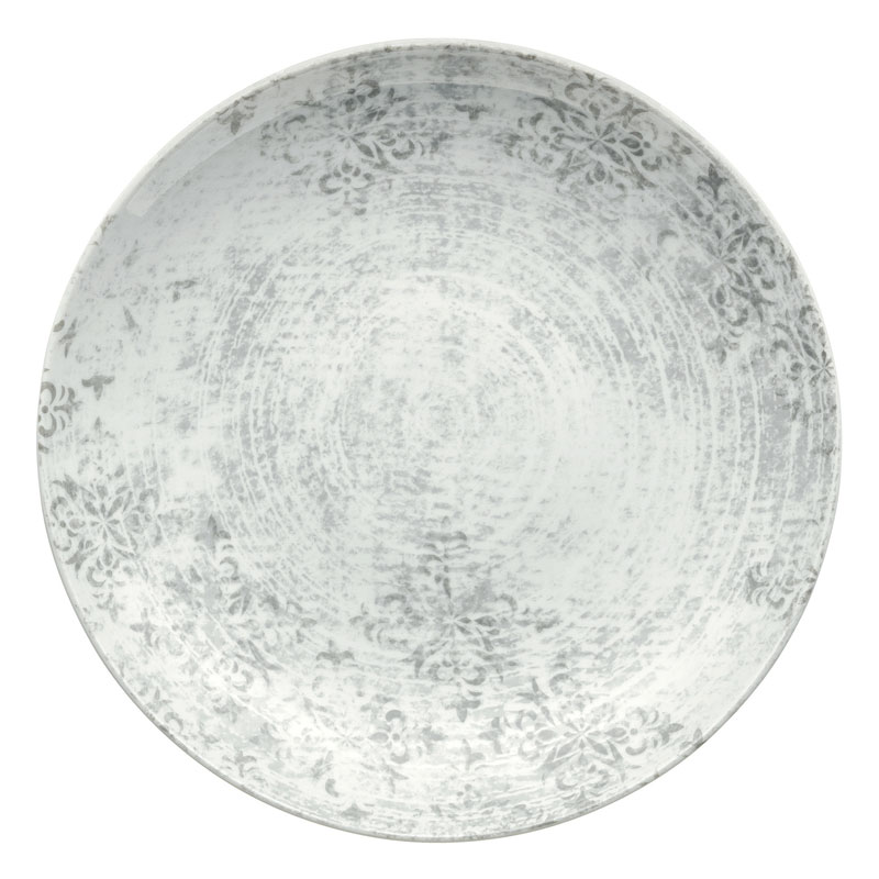 """Syracuse China 9331221-63071 7.87"""" Shabby Chic Plate - Coupe, Porcelain, Structure Gray"""