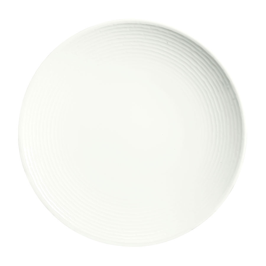 "Syracuse China 935550 101 12"" Round China Plate - Coupe, Embossed Rim, Porcelain, Atherton, White"