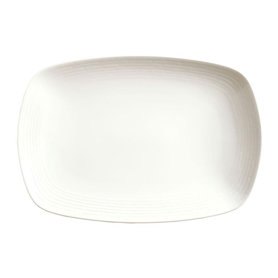 "Syracuse China 935550 113 Rectangular Plate - Coupe, Embossed Rim, Porcelain, 13x9"", Atherton, White"
