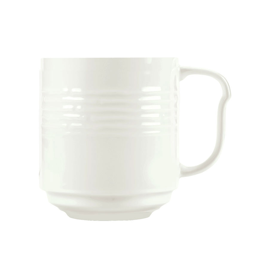 Syracuse China 935550 117 12-oz Stackable Mug - Embossed Rim, Porcelain, Atherton, White