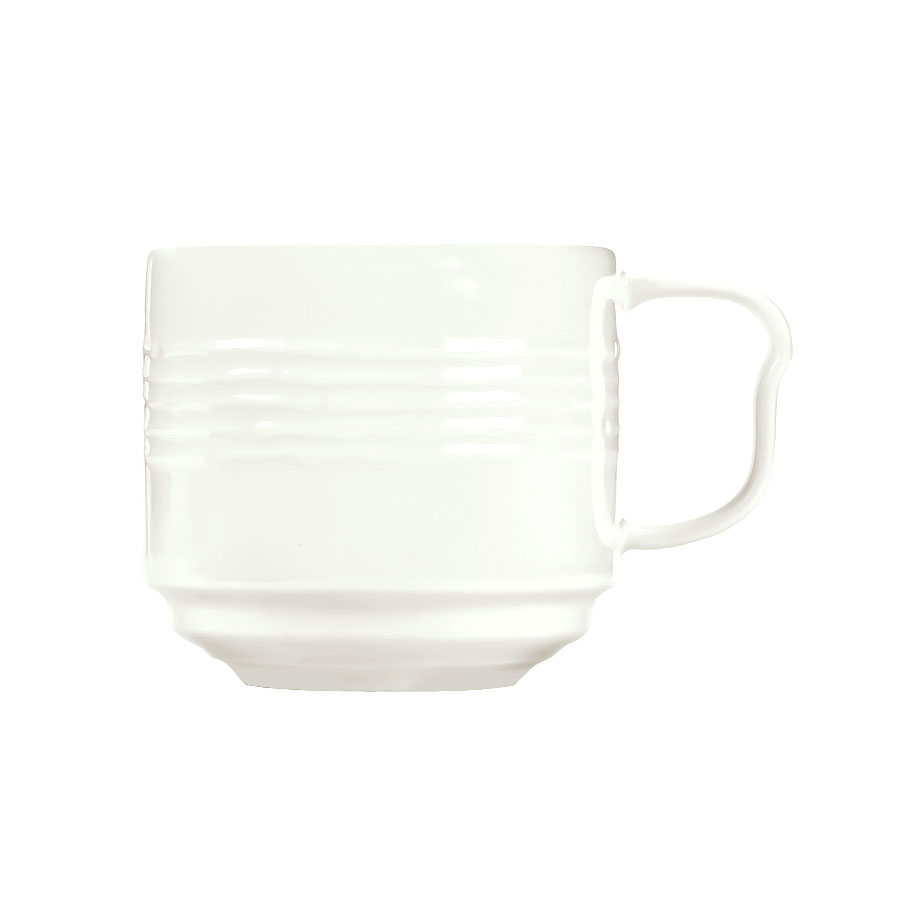Syracuse China 935550 118 9-oz Stackable Cup - Embossed Rim, Porcelain, Atherton, White