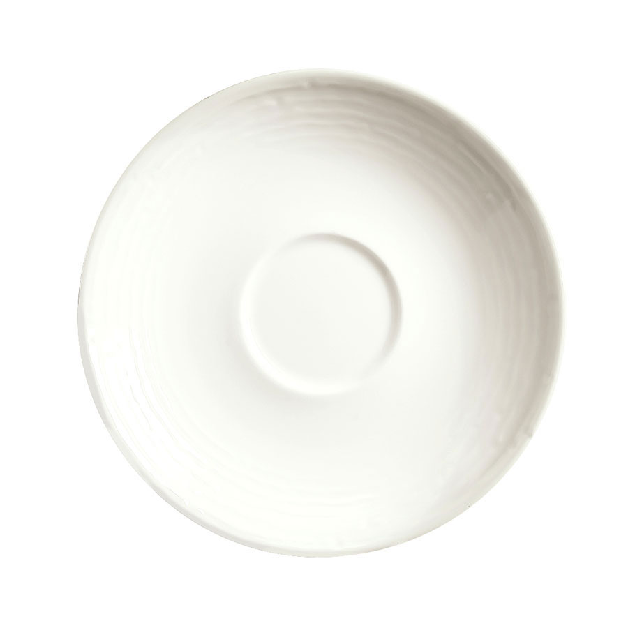 "Syracuse China 935550 119 6.25"" Round Saucer - Embossed Rim, Porcelain, Atherton, White"