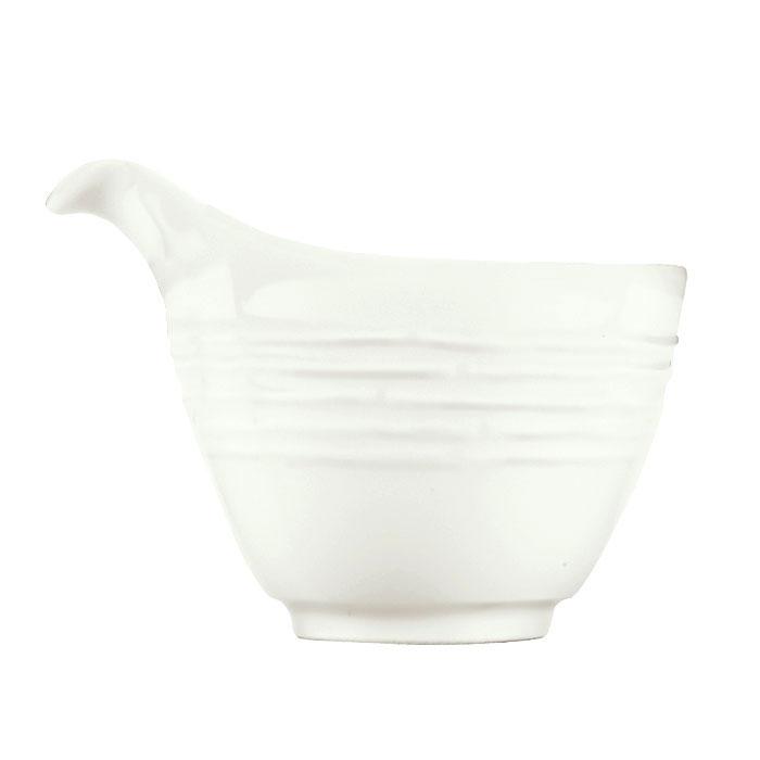 Syracuse China 935550 122 6-oz Creamer - Embossed Rim, Porcelain, Atherton, White
