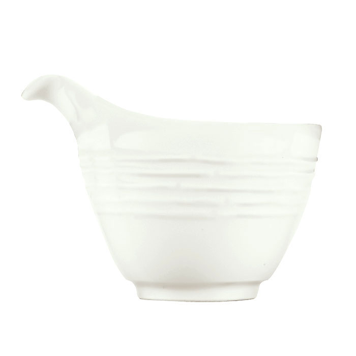 Syracuse China 935550 123 3-oz Creamer - Embossed Rim, Porcelain, Atherton, White
