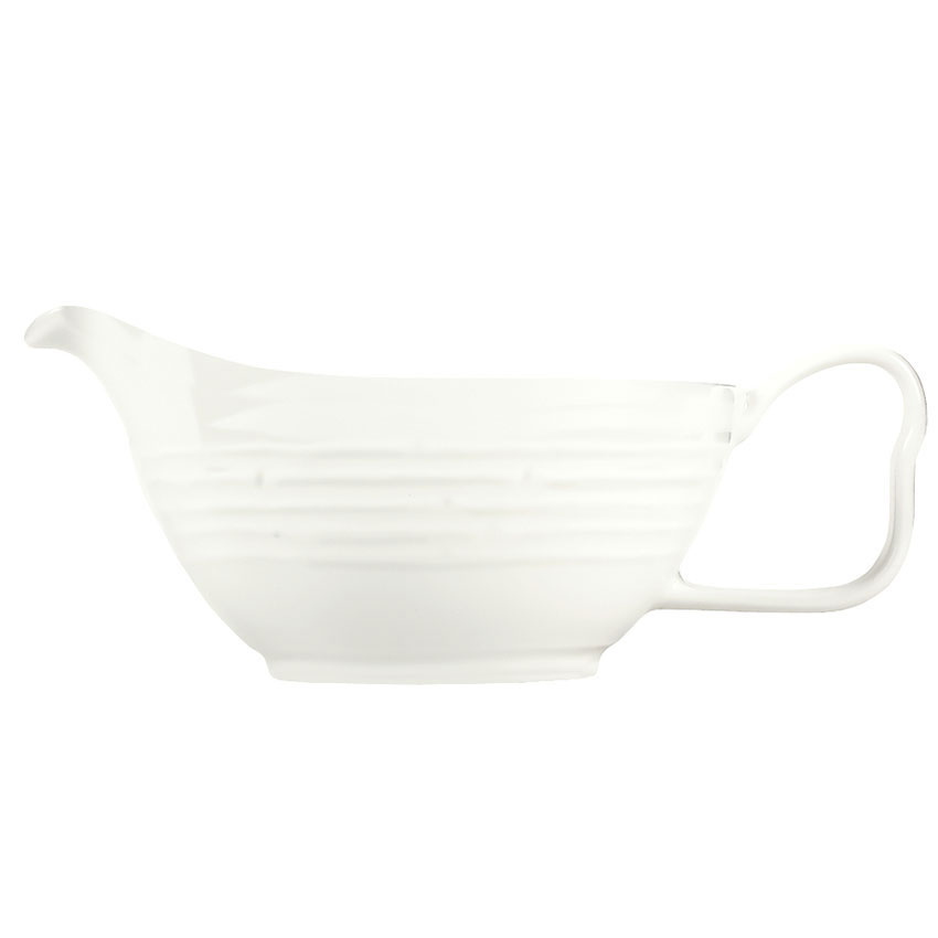 Syracuse China 935550 125 3-oz Handled Sauce Boat - Embossed Rim, Porcelain, Atherton, White
