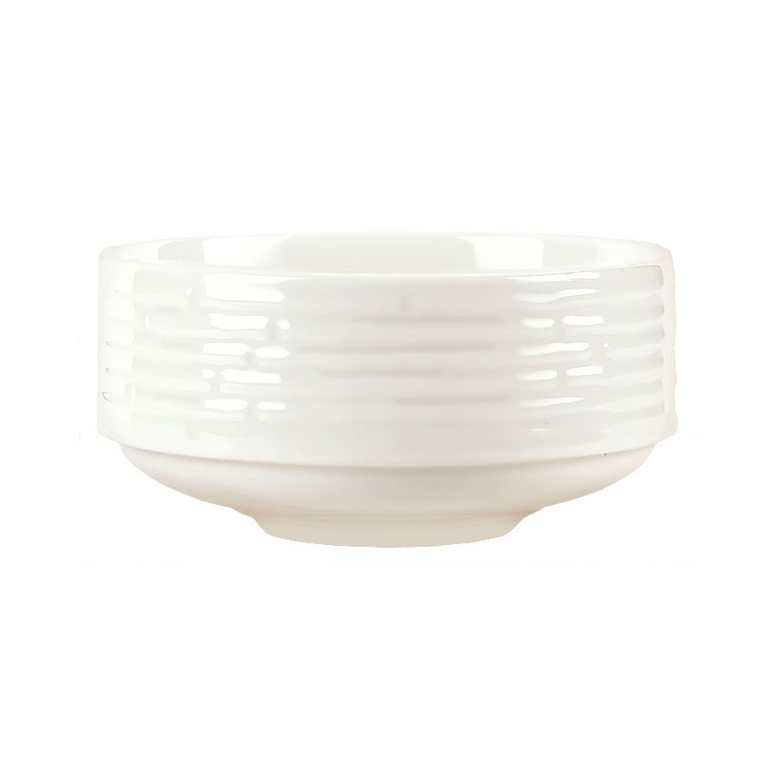 Syracuse China 935550 126 10-oz Round Bouillon - Embossed Rim, Porcelain, Atherton, White