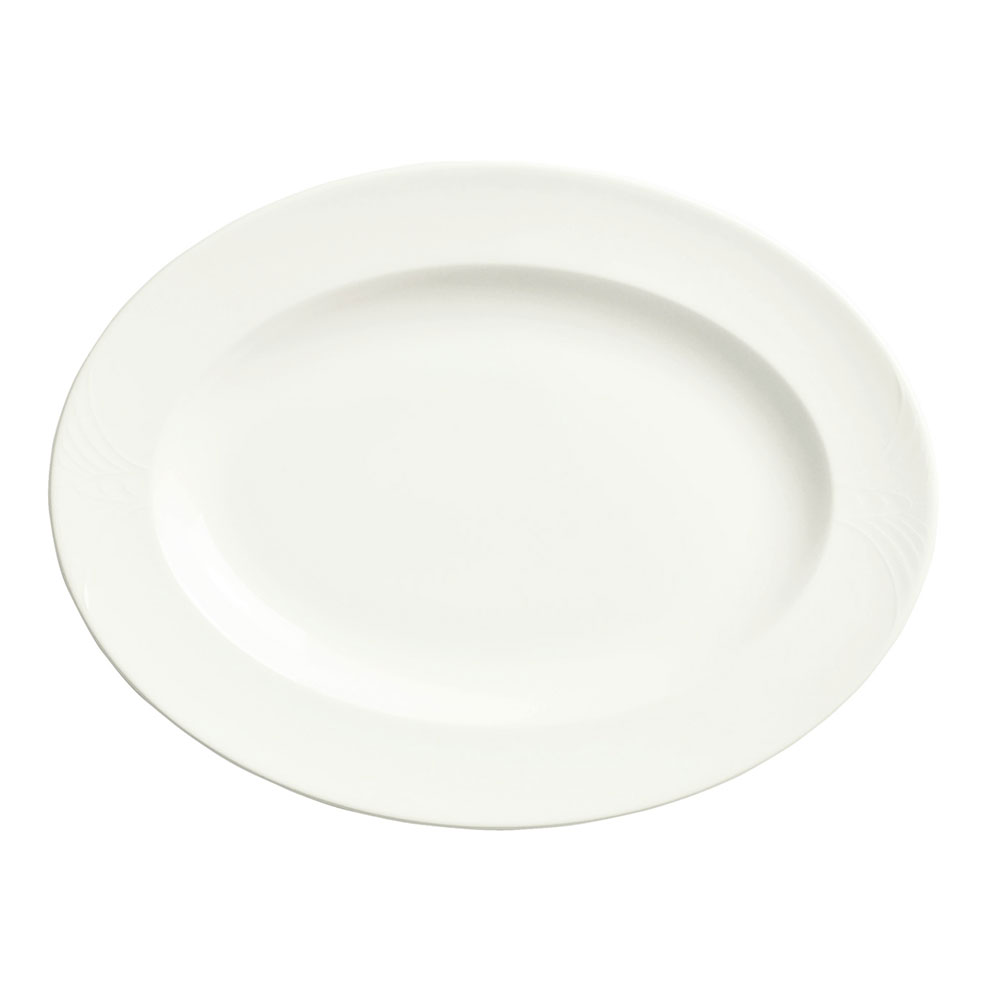 "Syracuse China 950041934 9.75"" Oval Platter, Low Profile, w/ Cafe Royal Pattern & Royal Rideau Body"