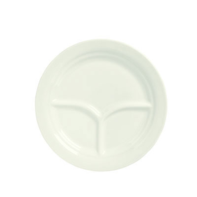 "Syracuse China 950093763 10"" Round Divided Plate, 3-Compartments, Undecorated, A La Carte, Sugar White"