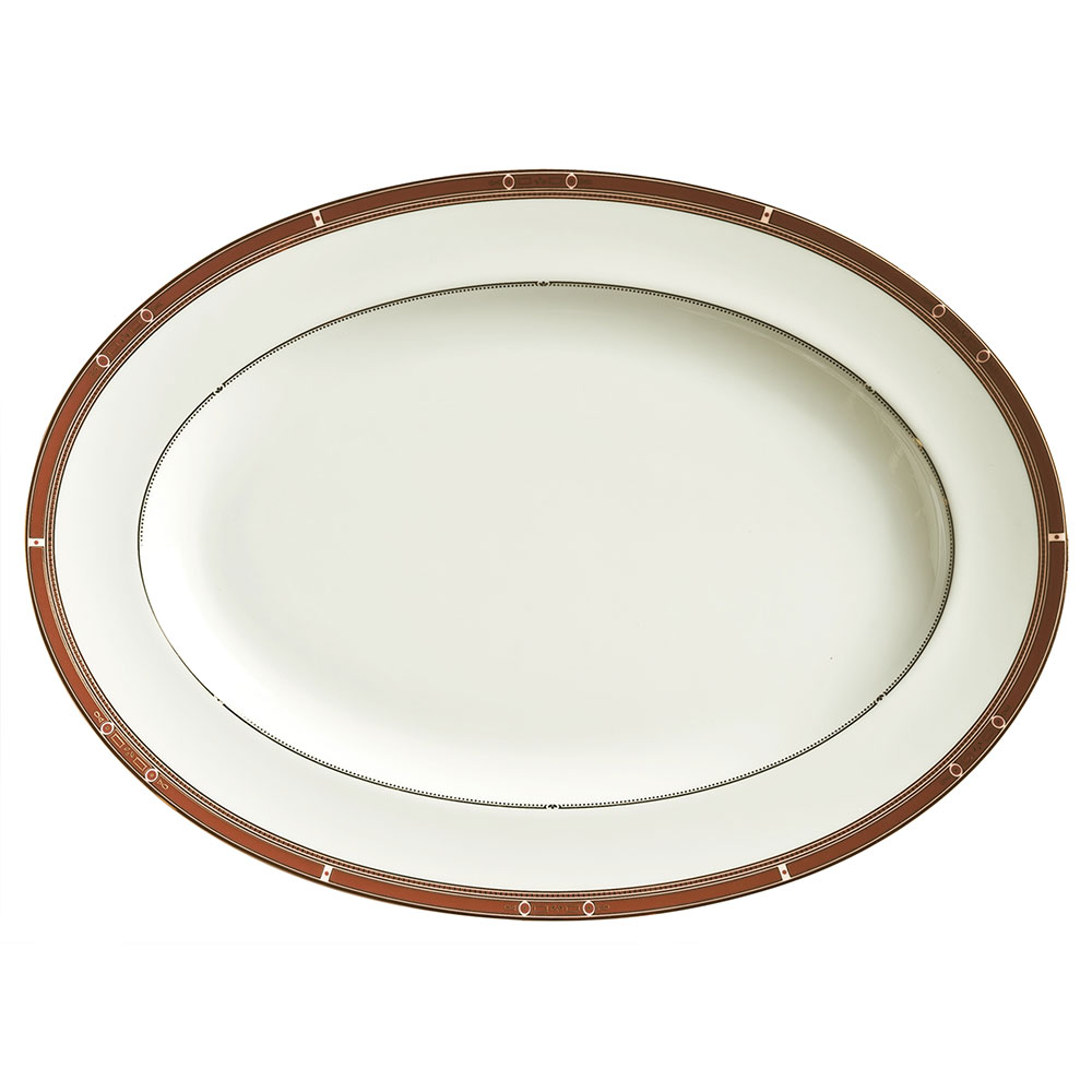 "Syracuse China 954321023 10-1/4"" Barrymore Platter - Oval, Glazed, White"