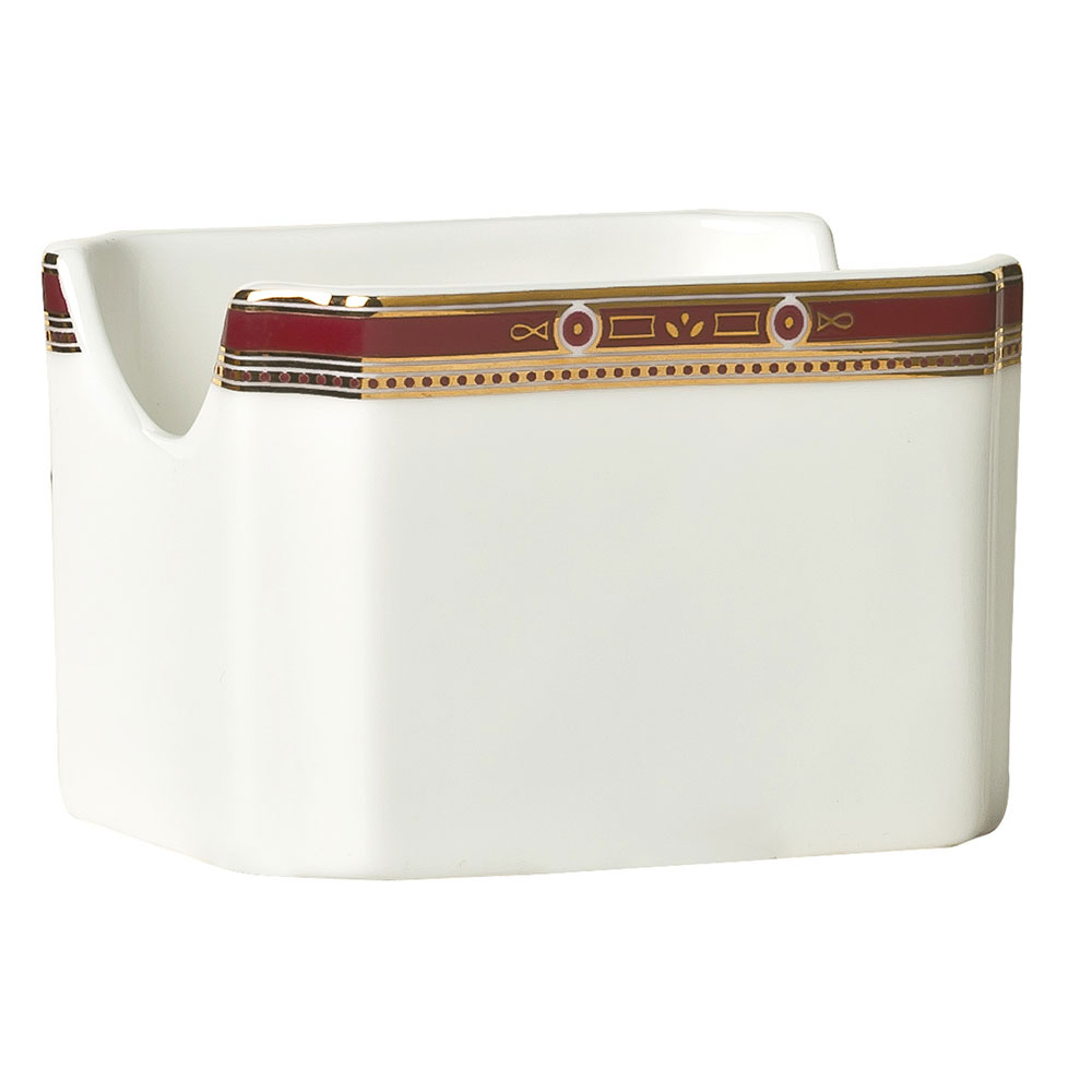 "Syracuse China 954321029 3"" Barrymore Sugar Packet Holder - Rectangular, Glazed, White"