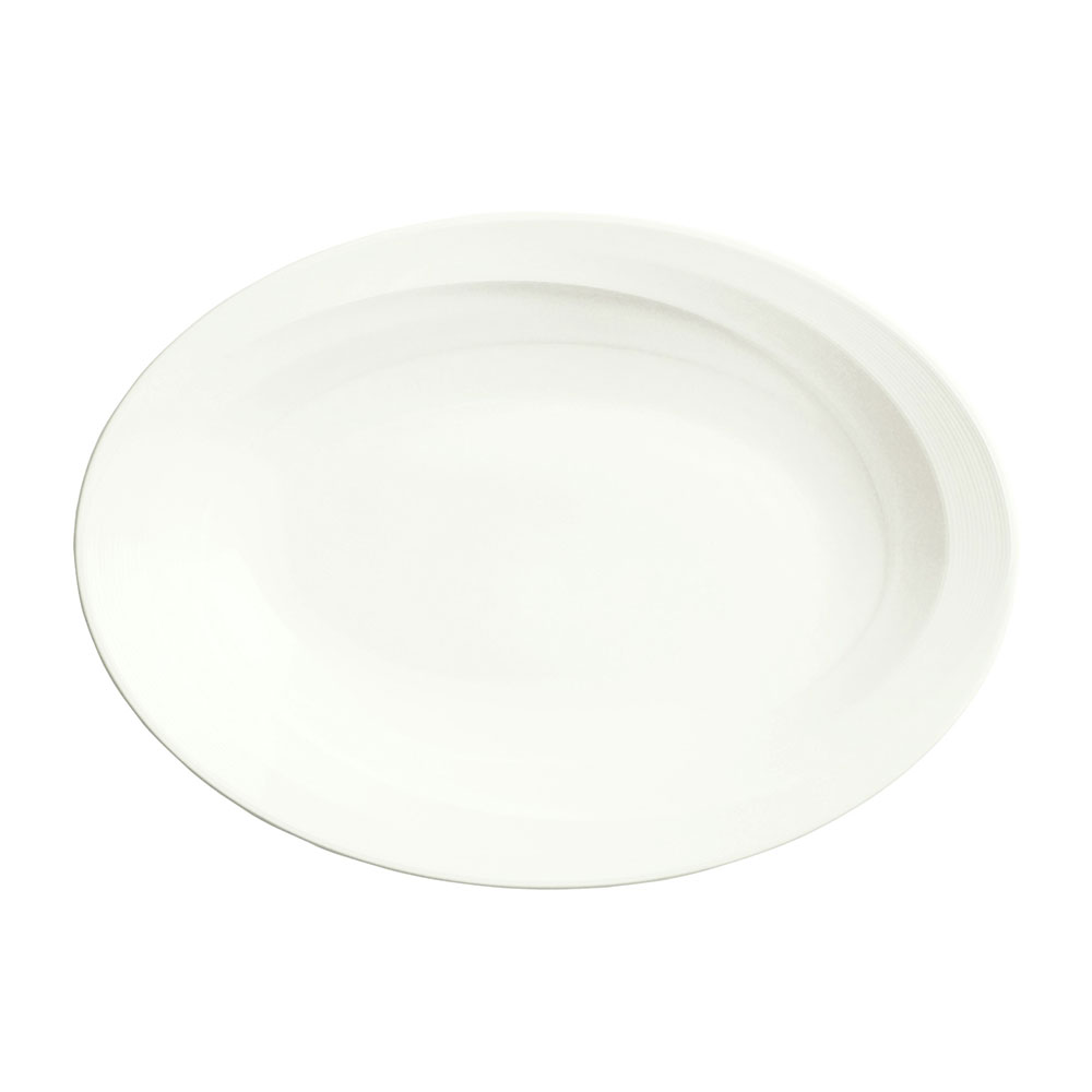 Syracuse China 987659313 Oval Platter, Rolled Edge, Silk Pattern, Royal Rideau, Alumina Body, 17.75x13-in