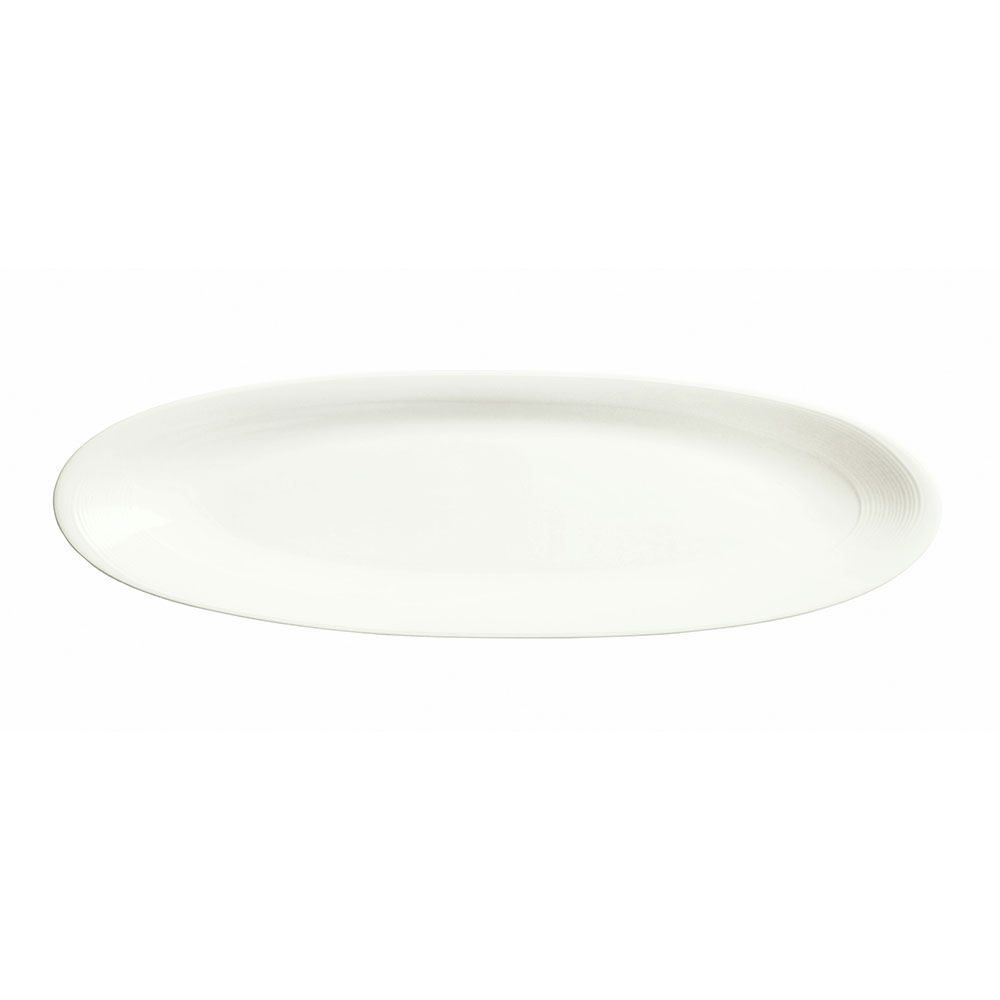 Syracuse China 987659317 Long Tray Platter w/ Silk Pattern & Royal Rideau, Alumina Body, 18x5.5-in