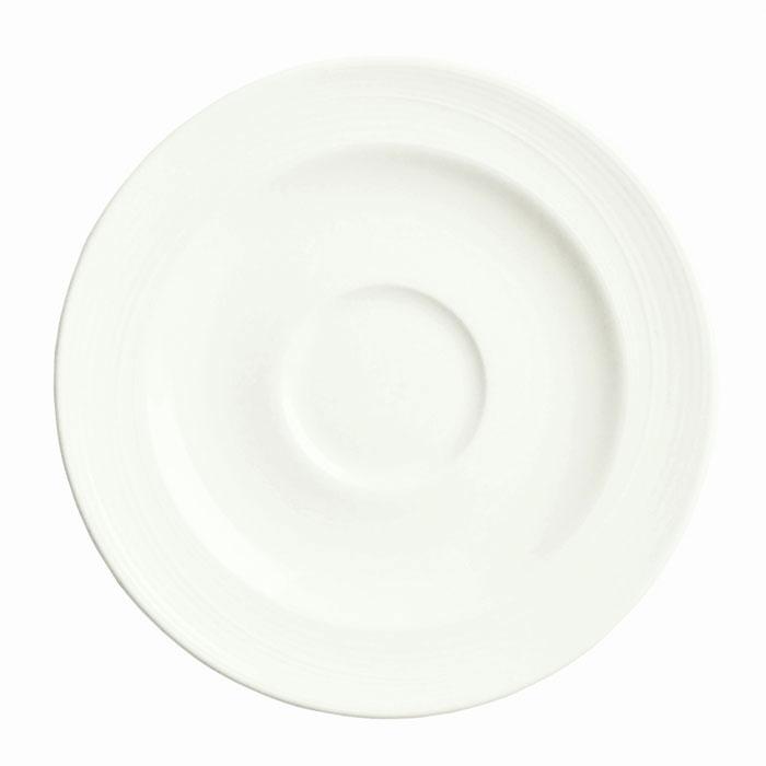 "Syracuse China 987659332 6"" Round Saucer w/ Silk Pattern & Royal Rideau, Alumina Body"