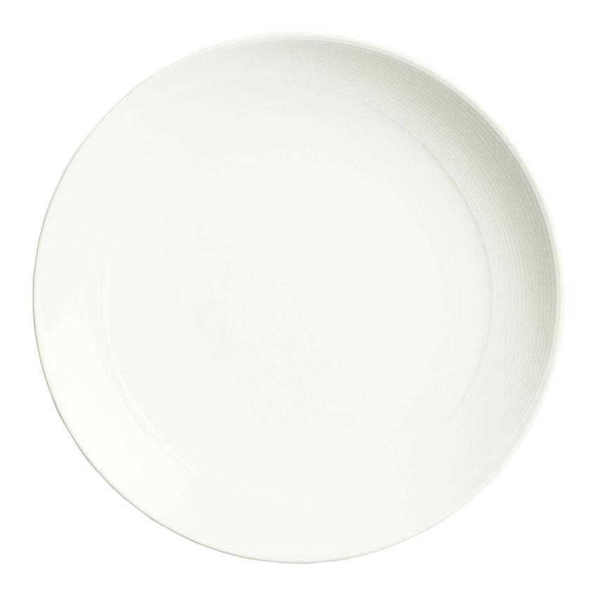 """Syracuse China 987659388 9"""" Round Plate, Coupe, w/ Silk Pattern & Royal Rideau, Alumina Body"""