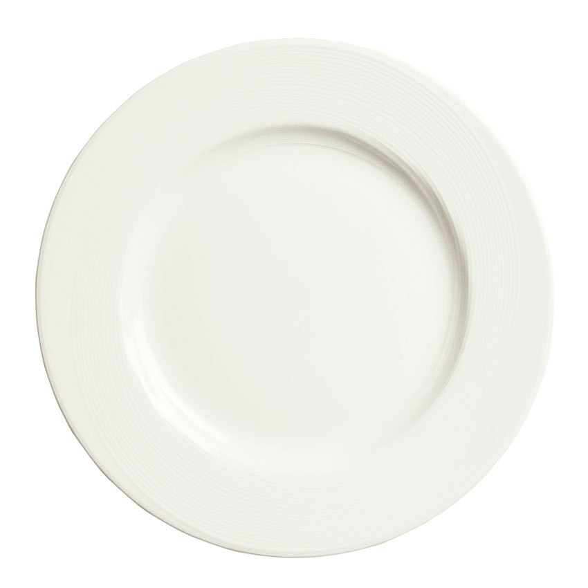 "Syracuse China 987659389 9"" Round Plate, Wide Rim, w/ Silk Pattern & Royal Rideau, Alumina Body"