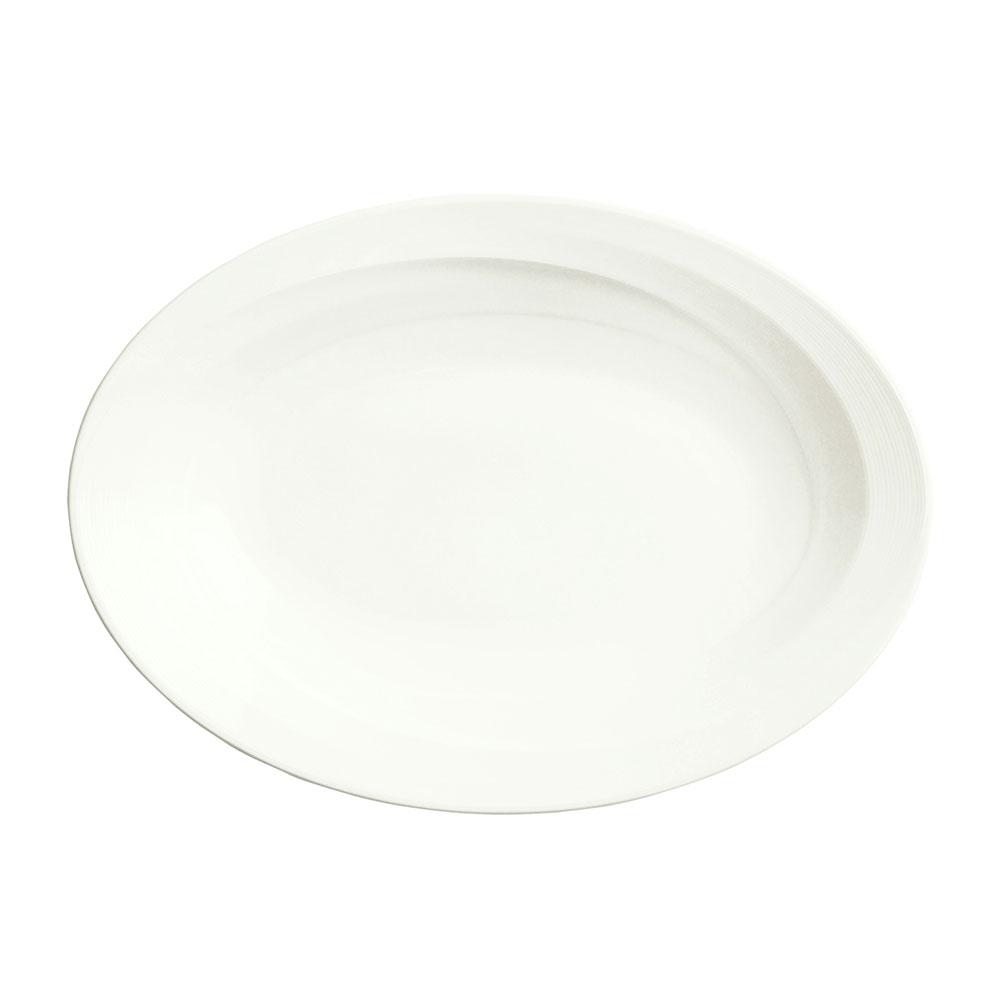 """Syracuse China 987659391 Oval Plate, Coupe, w/ Silk Pattern & Royal Rideau, Alumina Body, 13.75x9.75"""""""