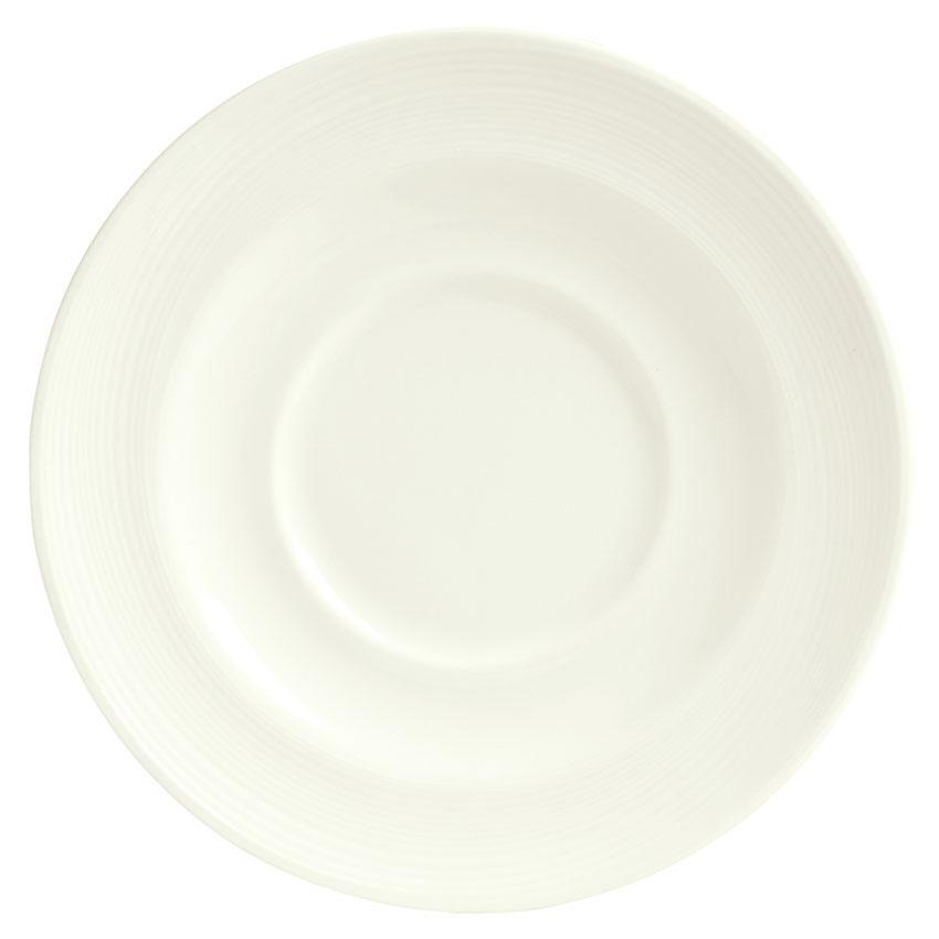 "Syracuse China 987659393 6-1/2"" Royal Rideau Saucer - Round, Silk Pattern, White"