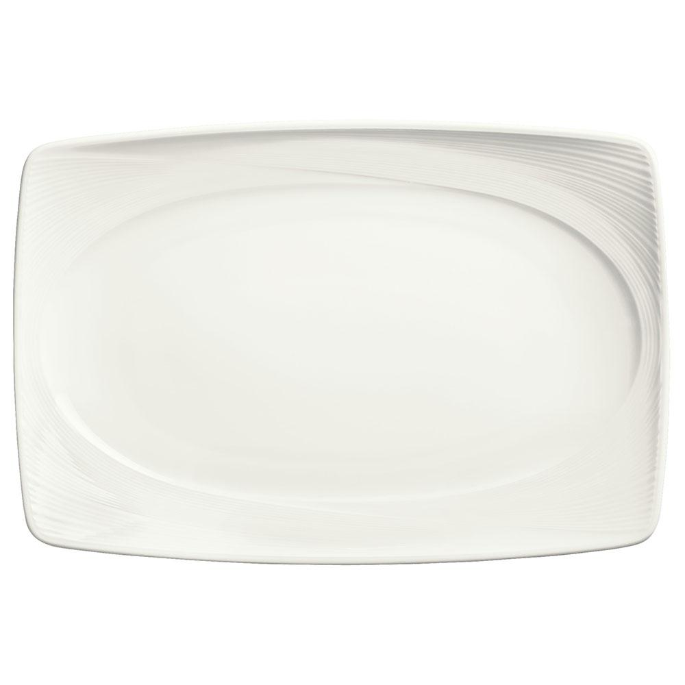 "Syracuse China 987659395 13"" Silk Pattern Platter - Rectangular, White"