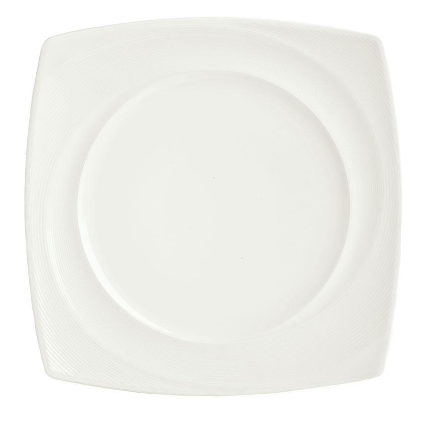 "Syracuse China 987659432 10-1/4"" Silk Pattern Plate - Square, White"