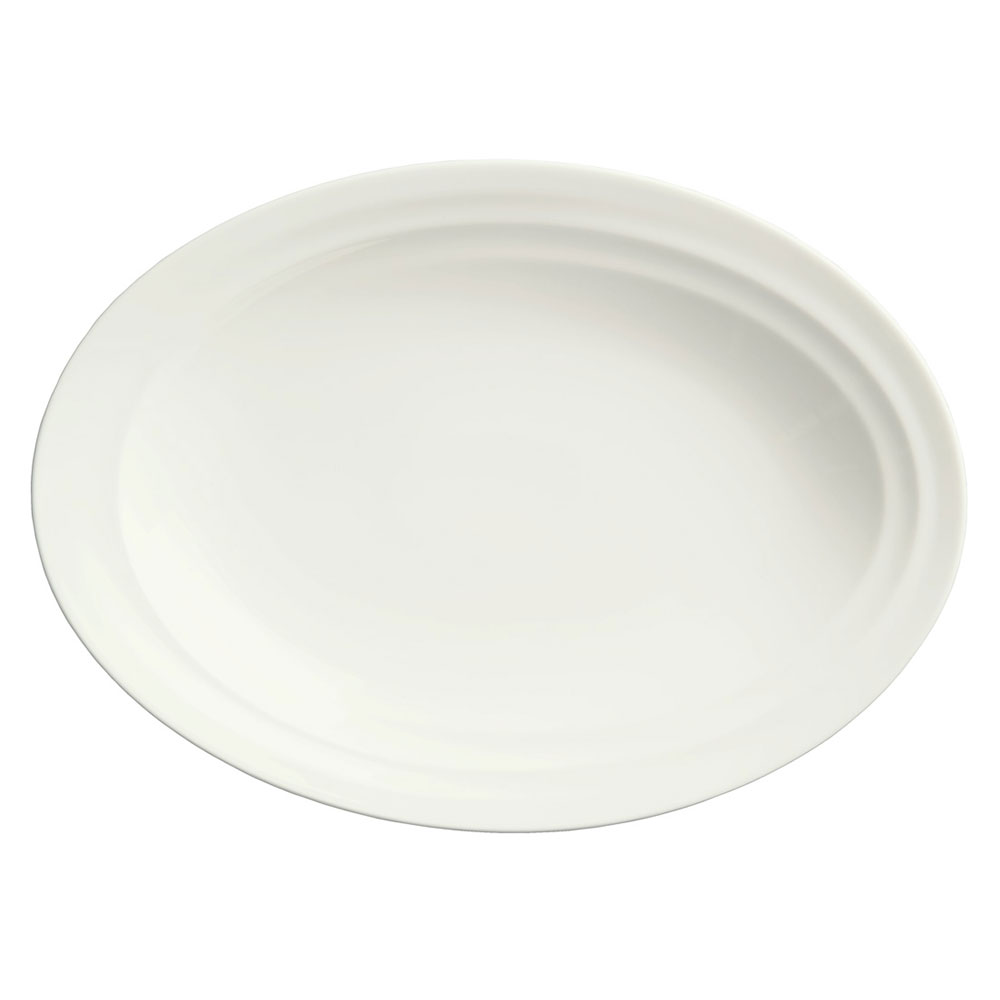 Syracuse China 995679508 Oval Platter w/ Resonate Pattern & Royal Rideau, Alumina Body, 13.75x10-in