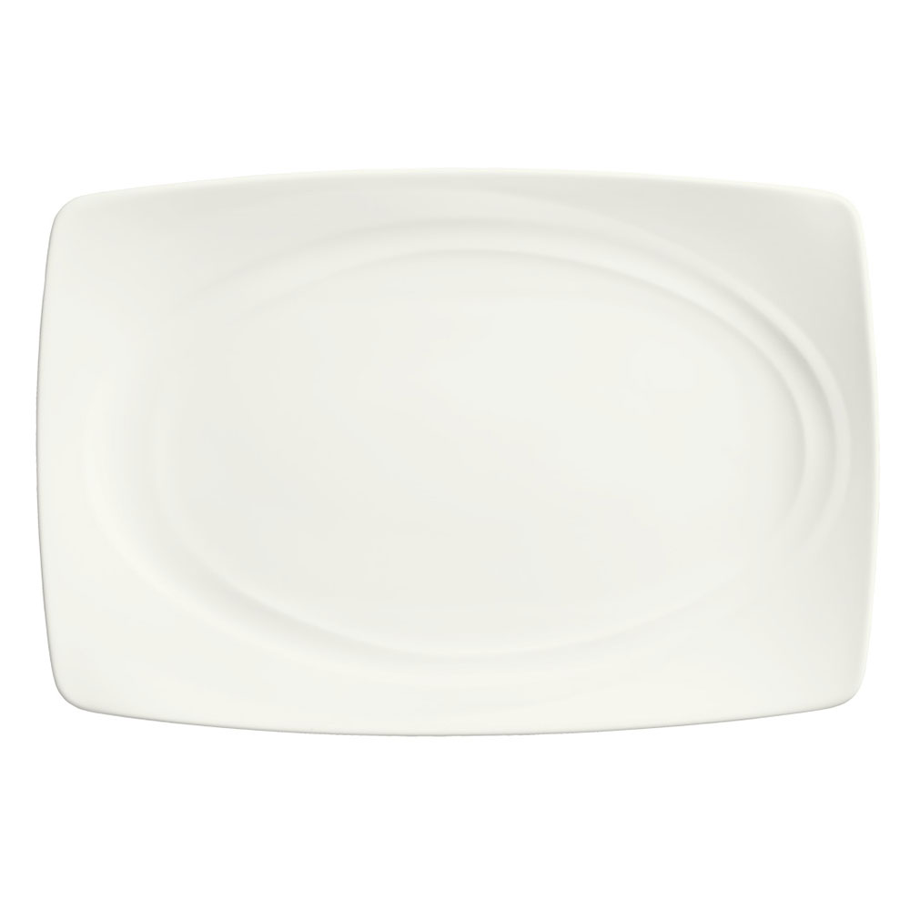 Syracuse China 995679509 Rectangular Tray w/ Resonate Pattern & Royal Rideau, Alumina Body, 13.12x8.75""