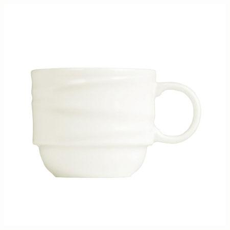 "Syracuse China 995679517 8.25"" Stacking Cup w/ Resonate Pattern & Royal Rideau, Alumina Body"