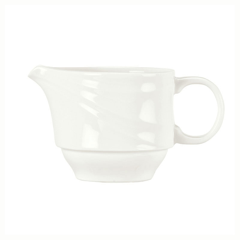 "Syracuse China 995679519 3.75"" Stacking Creamer w/ Resonate Pattern & Royal Rideau, Alumina Body"