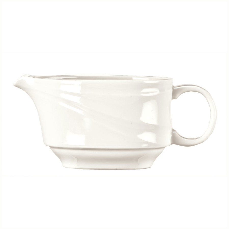 Syracuse China 995679523 3-oz Royal Rideau Sauce Boat - Handle, Resonate Pattern, White