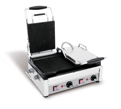 "Eurodib SFE02365 Panini Grill w/ Ribbed Top & Bottom, 10X20"" Plate, 240v"