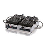 Eurodib WECCHBAT Double Waffle Maker, Cast Steel Irons, 4 x 7-in, 240 V