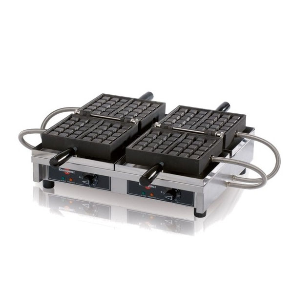 "Eurodib WECCHBAT Double Waffle Maker, Cast Steel Irons, 4 x 7"", 240 V"
