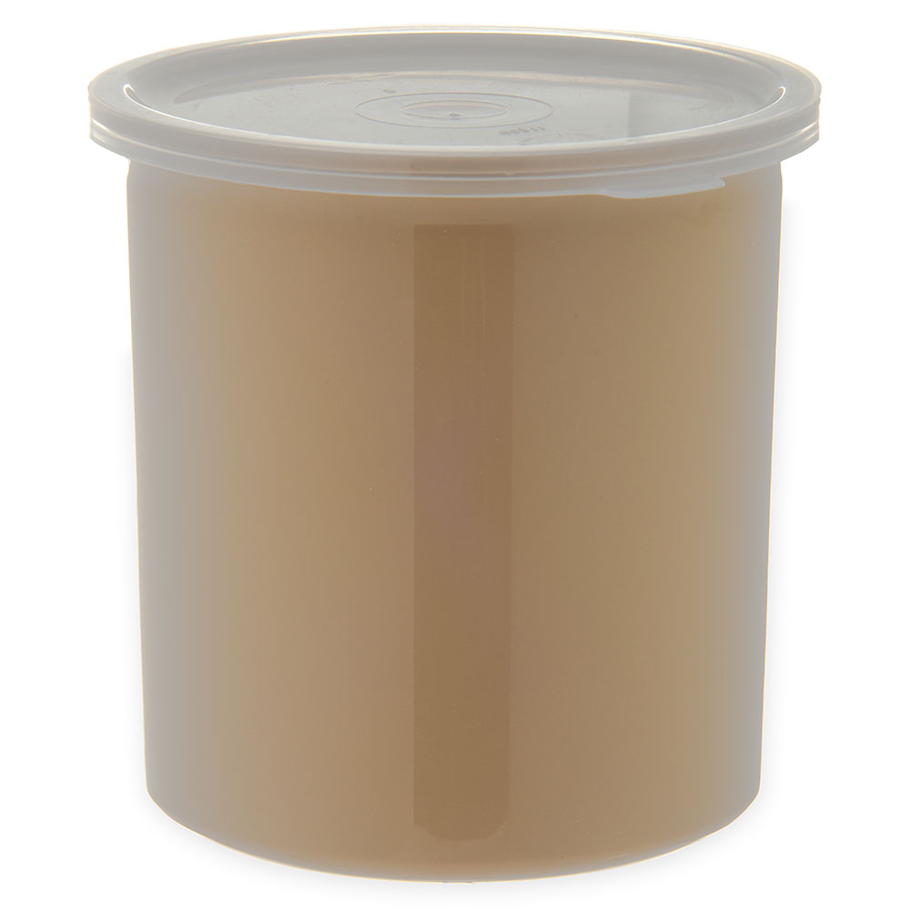 Carlisle 034106 1.2-qt Poly-Tuf Crock - Snap-On Lid, Translucent/Beige