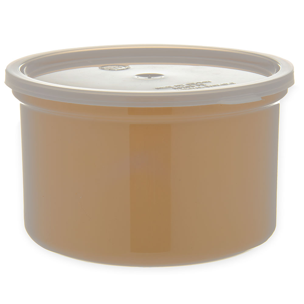 Carlisle 034306 1.5-qt Poly-Tuf Crock - Snap-On Lid, Translucent/Beige
