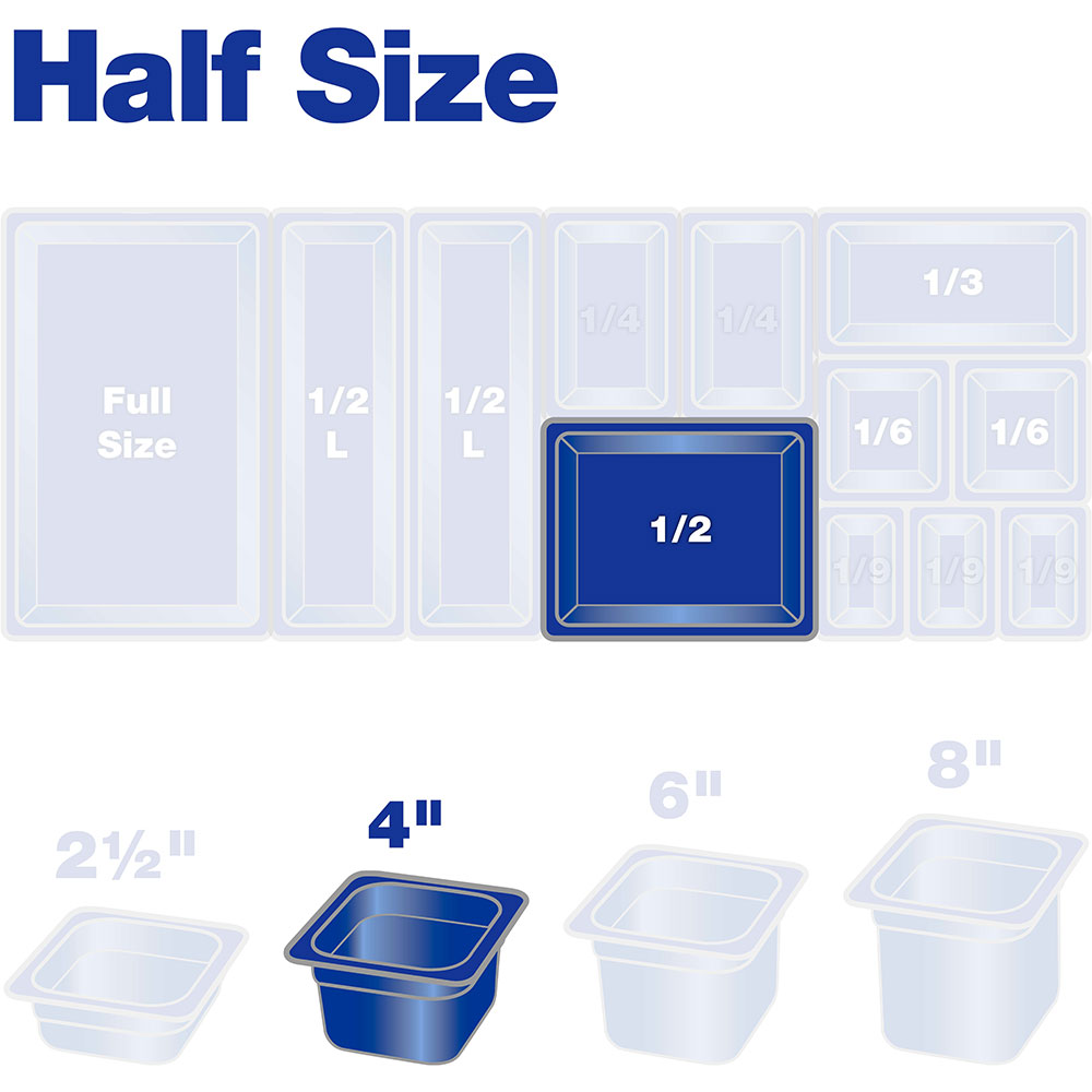 "Carlisle 10221B07 Half Size Food Storage Container - 4"" D, Clear"