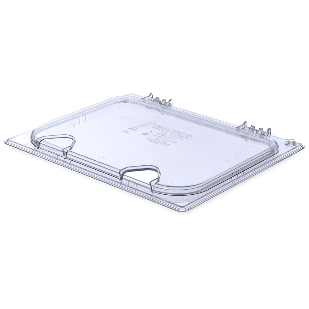 Carlisle 10239Z07 Universal Half-Size Hinged Food Pan Lid - Notched, Polycarbonate, Clear