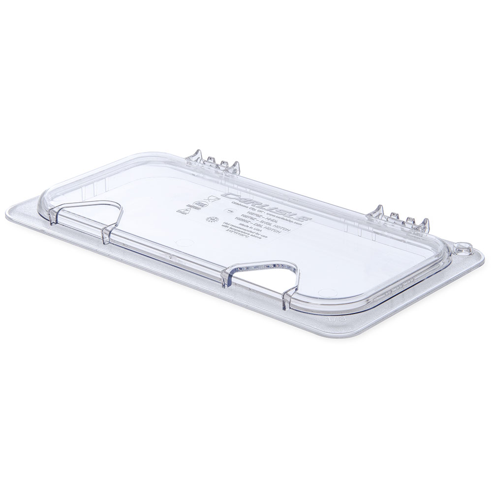 Carlisle 10279Z07 Universal Third-Size Hinged Food Pan Lid - Notched, Polycarbonate, Clear