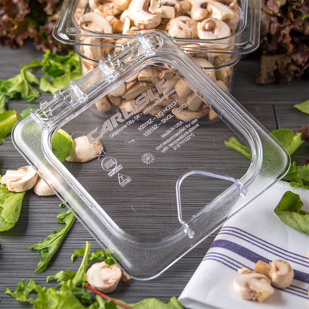 Carlisle 10319Z07 Universal Sixth-Size Hinged Food Pan Lid - Notched, Polycarbonate, Clear