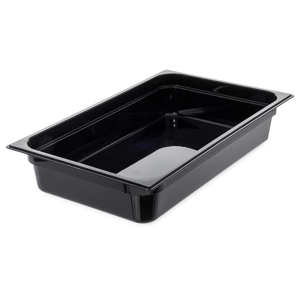 "Carlisle 10401B03 StorPlus High Heat Food Pan - Full Size, 4""D, Black"