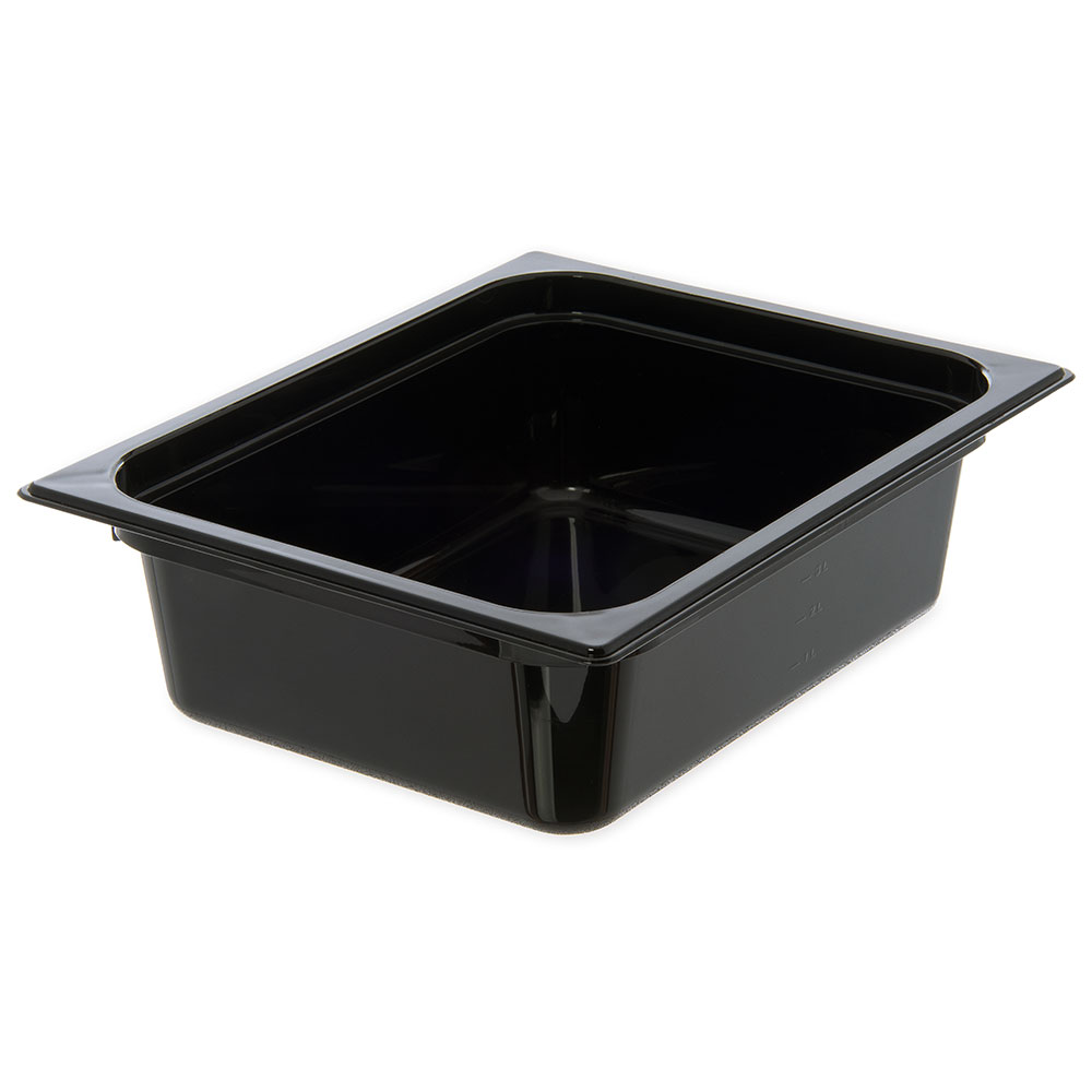"Carlisle 10421B03 StorPlus High Heat Food Pan - 1/2 Size, 4""D, Black"