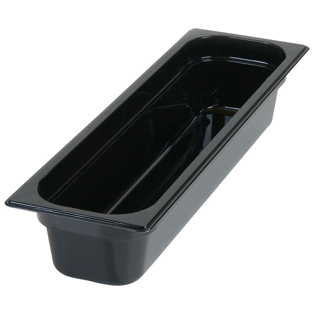 "Carlisle 10441B03 StorPlus High Heat Long Food Pan - 1/2 Size, 4""D, Black"
