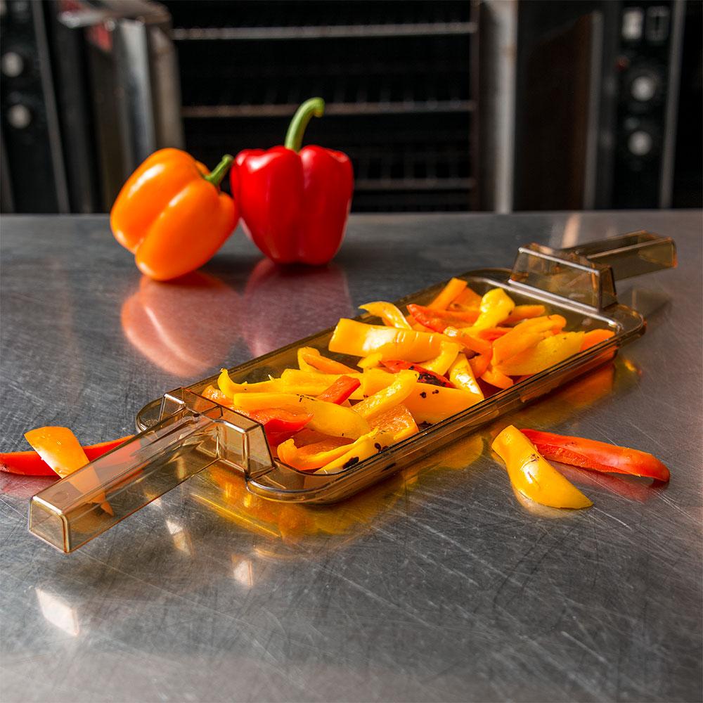 "Carlisle 10458HH13 StorPlus High Heat Food Pan w/ Handles - 1/3 Size, 0.8""D, Amber"