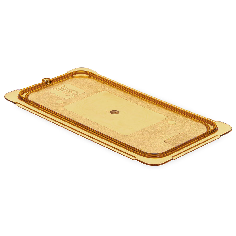 Carlisle 10471U13 Universal 1/3 Size High Heat Food Pan Notched Lid - Amber