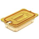 Carlisle 10491U13 Universal 1/4 Size High Heat Food Pan Notched Lid - Amber