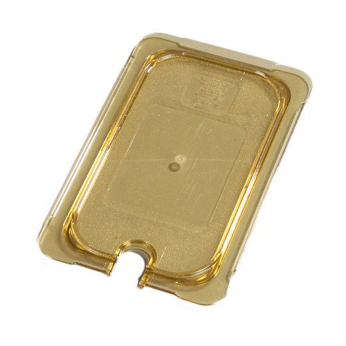 Carlisle 10497U13 Universal 1/4 Size High Heat Food Pan Lid - Flat, Notched, Amber