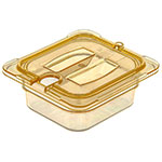 Carlisle 10511U13 Universal 1/6 Size High Heat Food Pan Notched Lid - Amber