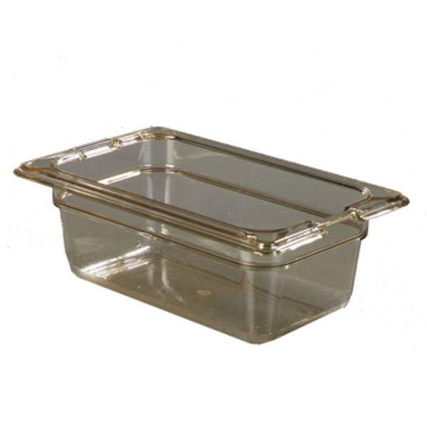 "Carlisle 10520-813 High Heat 1/9 Size Food Pan - 2-1/2""D, (3/Pk) Amber"