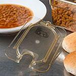 Carlisle 10537U13 Universal 1/9 Size High Heat Food Pan Lid - Flat, Notched, Amber